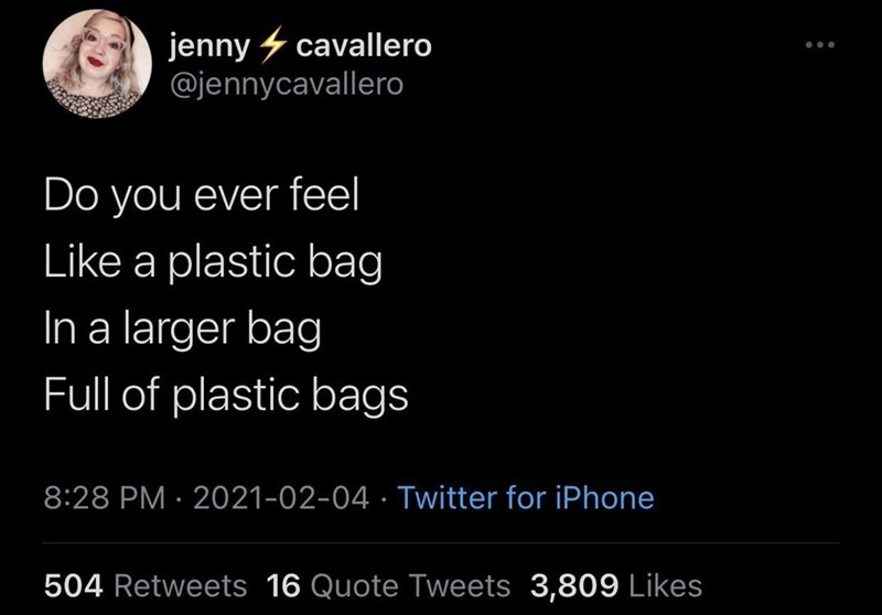 Font - jenny 4 cavallero @jennycavallero Do you ever feel Like a plastic bag In a larger bag Full of plastic bags 8:28 PM · 2021-02-04 · Twitter for iPhone 504 Retweets 16 Quote Tweets 3,809 Likes