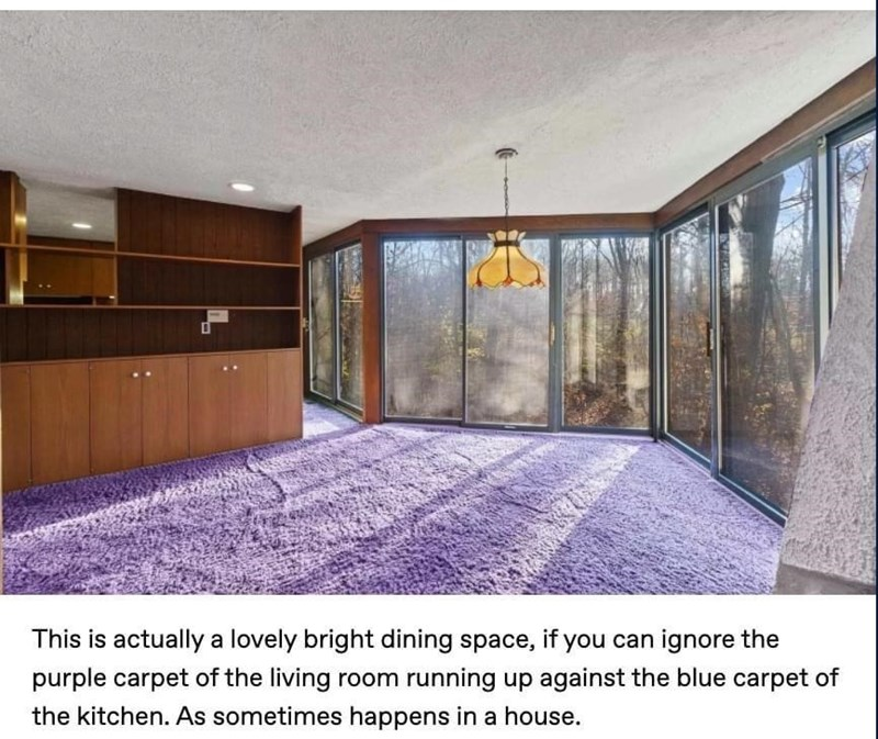 Property - This is actually a lovely bright dining space, if you can ignore the purple carpet of the living room running up against the blue carpet of the kitchen. As sometimes happens in a house.