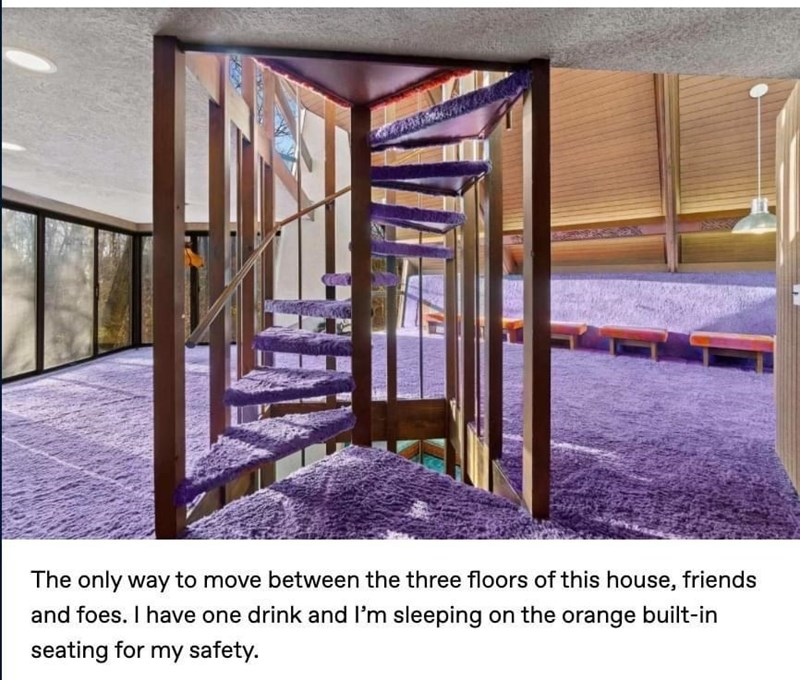 Property - The only way to move between the three floors of this house, friends and foes. I have one drink and l'm sleeping on the orange built-in seating for my safety.
