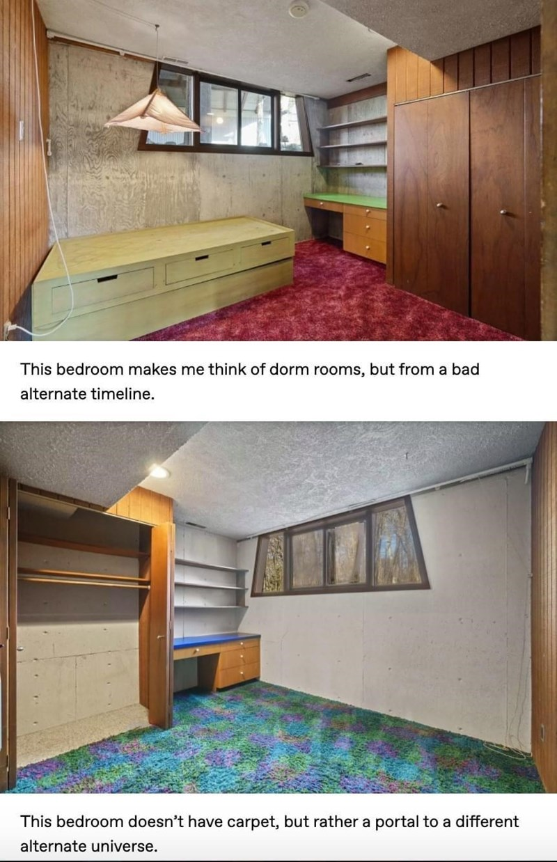 Property - This bedroom makes me think of dorm rooms, but from a bad alternate timeline. This bedroom doesn't have carpet, but rather a portal to a different alternate universe.