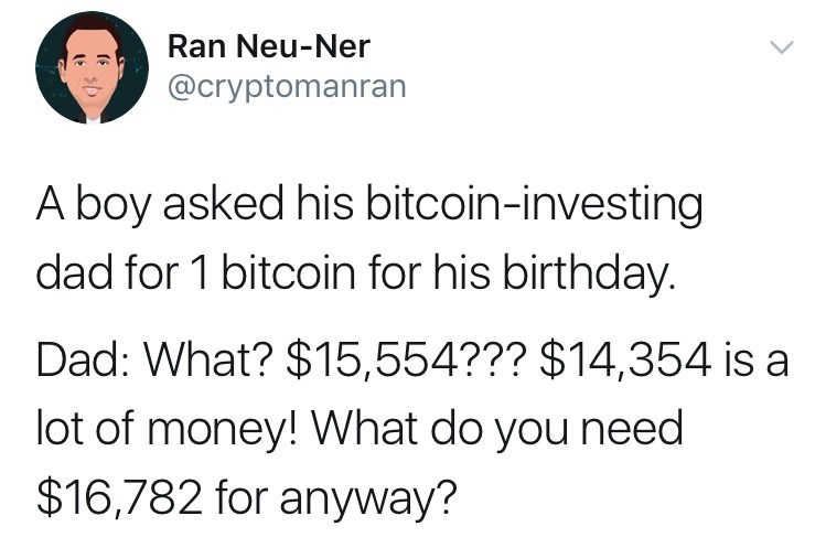 Font - Ran Neu-Ner @cryptomanran A boy asked his bitcoin-investing dad for 1 bitcoin for his birthday. Dad: What? $15,554??? $14,354 is a lot of money! What do you need $16,782 for anyway?