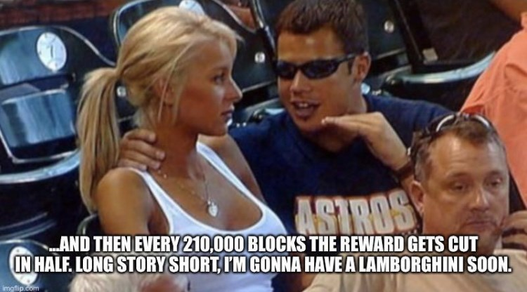 Hair - ASTROS AND THEN EVERY 210,000 BLOCKS THE REWARD GETS CUT IN HALF. LONG STORY SHORT, IM GONNA HAVE A LAMBORGHINI SOON. imgflip.com