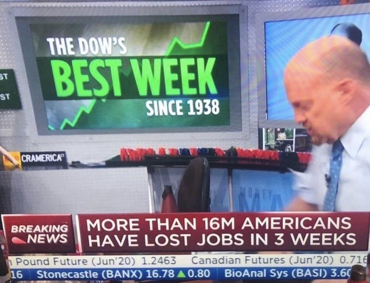 Television presenter - THE DOW'S BEST WEEK ST ST SINCE 1938 CRAMERICA ONE MORE THAN 16M AMERICANS HAVE LOST JOBS IN 3 WEEKS BREAKING NEWS Pound Future (Jun'20) 1.2463 Stonecastle (BANX) 16.78 A 0.80 Canadian Futures (Jun'20) 0.716 BioAnal Sys (BASI) 3.60 16