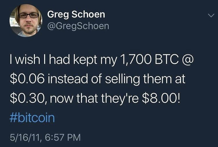 Organism - Greg Schoen @GregSchoen I wish I had kept my 1,700 BTC @ $0.06 instead of selling them at $0.30, now that they're $8.00! #bitcoin 5/16/11, 6:57 PM