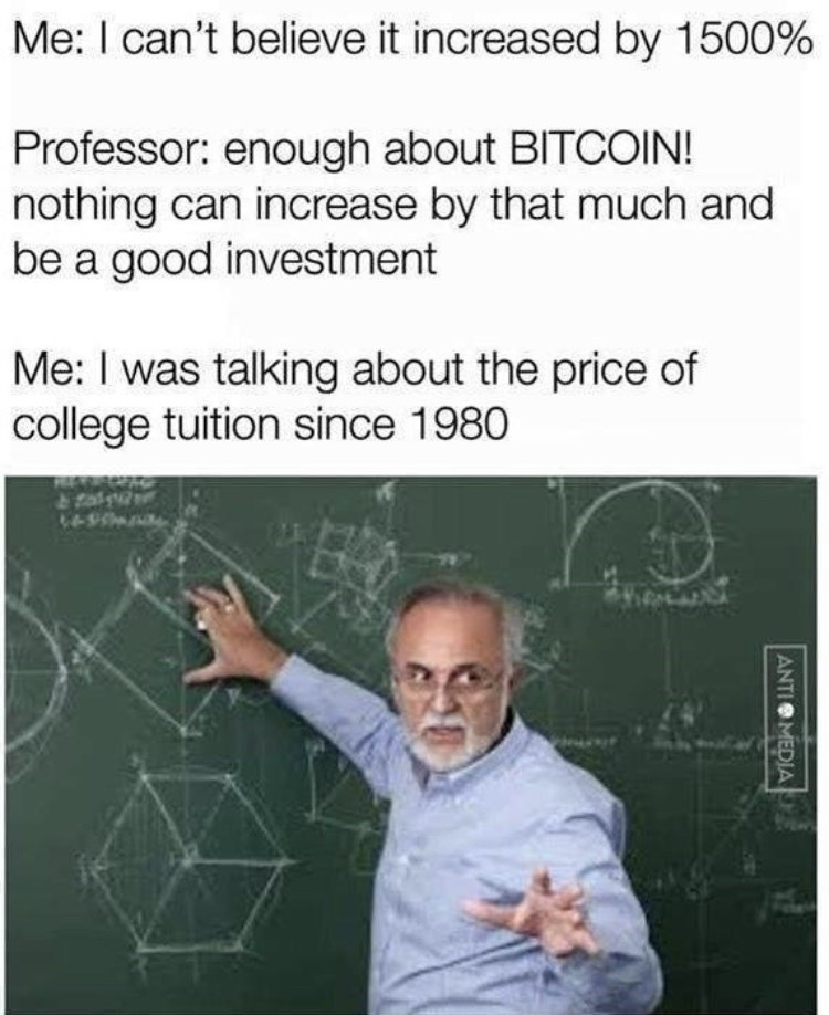 Forehead - Me: I can't believe it increased by 1500% Professor: enough about BITCOIN! nothing can increase by that much and be a good investment Me: I was talking about the price of college tuition since 1980 & fal ANTIO MEDIA