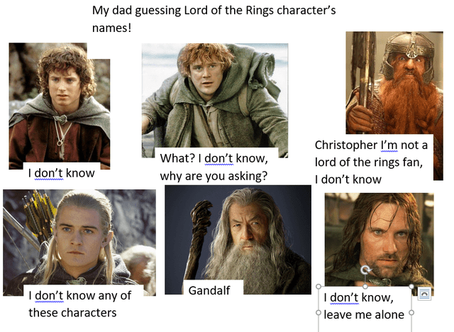 Forehead - My dad guessing Lord of the Rings character's names! Christopher l'm not a lord of the rings fan, I don't know What? I don't know, I don't know why are you asking? Gandalf I don't know any of I don't know, leave me alone these characters