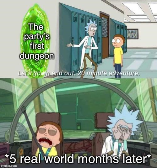 Cartoon - ME The party's first dungeon Lers go In and out. 20 minute adventure. *5 real world months later* imgflip.com