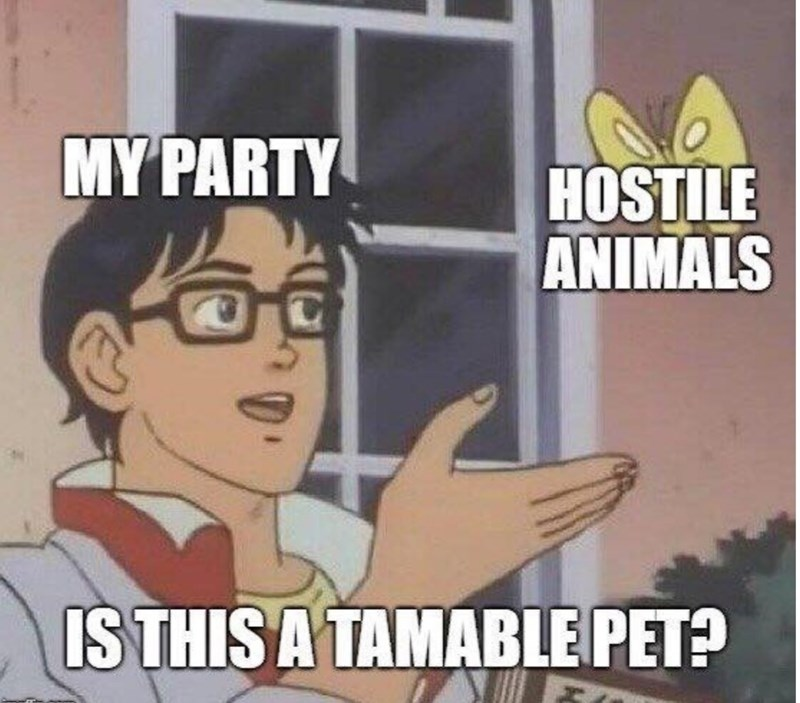 Cartoon - MY PARTY HOSTILE ANIMALS IS THIS A TAMABLE PET?