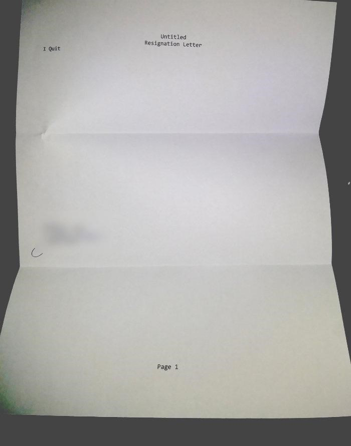 Rectangle - Untitled Resignation Letter I Quit Page 1