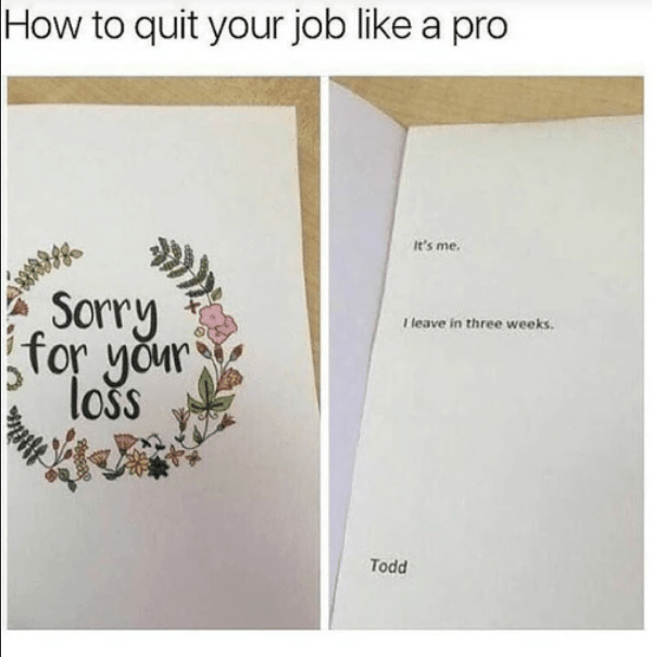 Brown - How to quit your job like a pro It's me. Sorry for your loss I leave in three weeks. Todd
