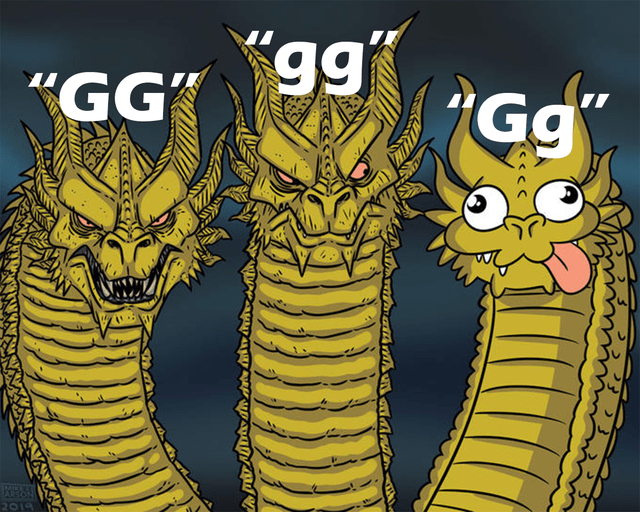 Funny meme about the different ways people say GG, video games, gaming, three headed dragon