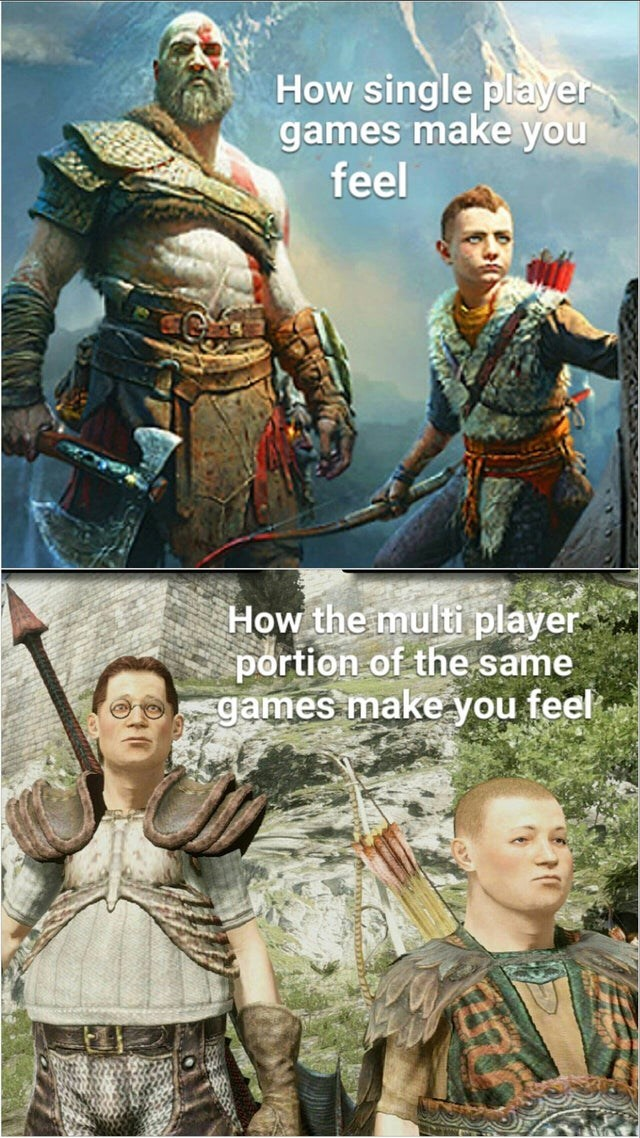 Head - How single player games make you feel How the multi player portion of the same games make you feel