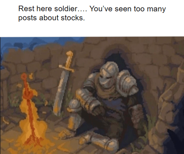 World - Rest here soldier.... You've seen too many posts about stocks.