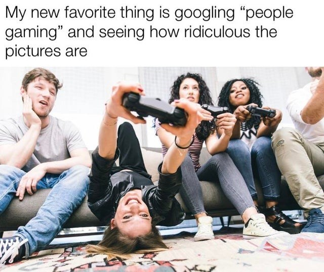 """Clothing - My new favorite thing is googling """"people gaming"""" and seeing how ridiculous the pictures are"""