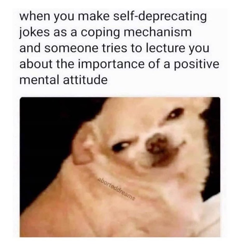 Dog - when you make self-deprecating jokes as a coping mechanism and someone tries to lecture you about the importance of a positive mental attitude aborteddreams