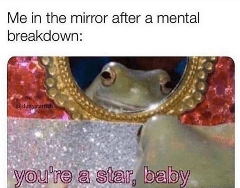 Organism - Me in the mirror after a mental breakdown: @sluttystarfish you're a star, baby