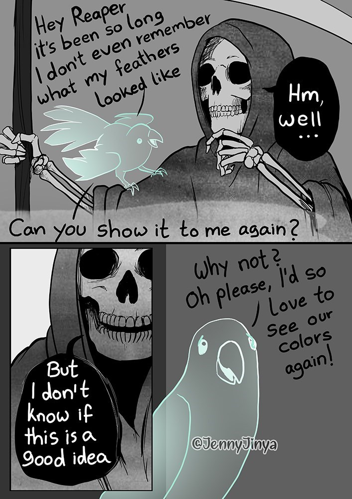 Hairstyle - Hey Reaper it's been so long I don't even remember what my feathers looked like Hm, well Can you show it to me again? why not? Oh please, l'd so Love to See our colors But I don't know if this is a 9ood idea again! @JennyJinya