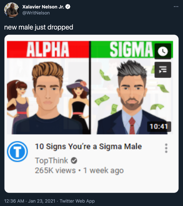 Hairstyle - Xalavier Nelson Jr. @WritNelson new male just dropped ALPHA SIGMA O 10:41 10 Signs You're a Sigma Male TopThink O 265K views • 1 week ago 12:36 AM · Jan 23, 2021 · Twitter Web App
