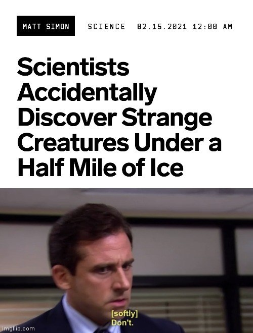 Funny meme about leaving strange creatures in ice, they were just discovered by scientists, the office, don't, michael scott, steve carell