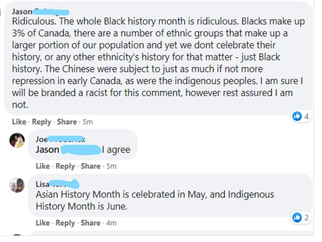 Font - Jason Ridiculous. The whole Black history month is ridiculous. Blacks make up 3% of Canada, there are a number of ethnic groups that make up a larger portion of our population and yet we dont celebrate their history, or any other ethnicity's history for that matter - just Black history. The Chinese were subject to just as much if not more repression in early Canada, as were the indigenous peoples. I am sure I will be branded a racist for this comment, however rest assured I am not. 4 Like