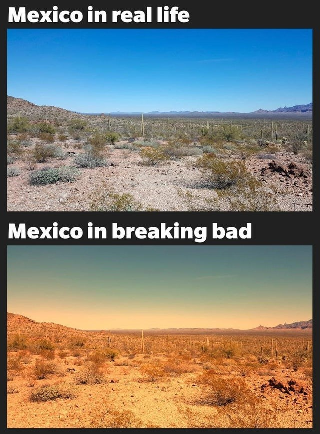 Funny meme about how media, like breaking bad televions show, depicts mexico as a yellowish or brown place