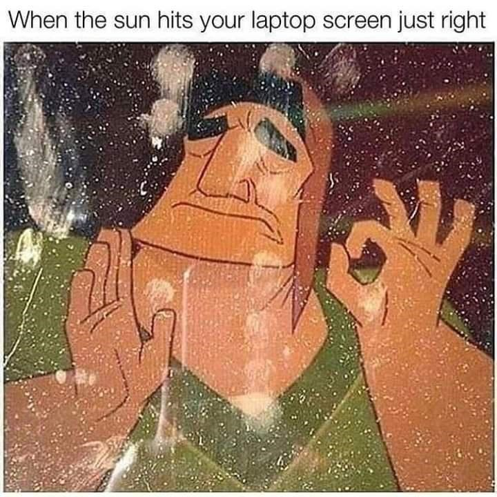 Hand - When the sun hits your laptop screen just right