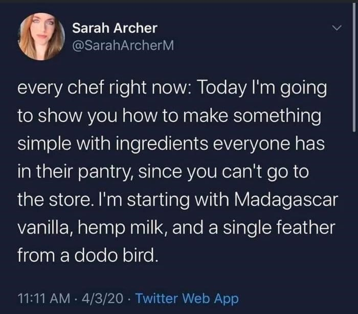 Organism - Sarah Archer @SarahArcherM every chef right now: Today I'm going to show you how to make something simple with ingredients everyone has in their pantry, since you can't go to the store. I'm starting with Madagascar vanilla, hemp milk, and a single feather from a dodo bird. 11:11 AM · 4/3/20 · Twitter Web App