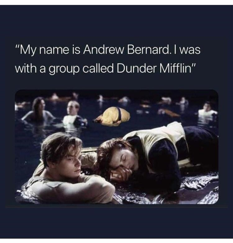 "Photograph - ""My name is Andrew Bernard. I was with a group called Dunder Mifflin"""