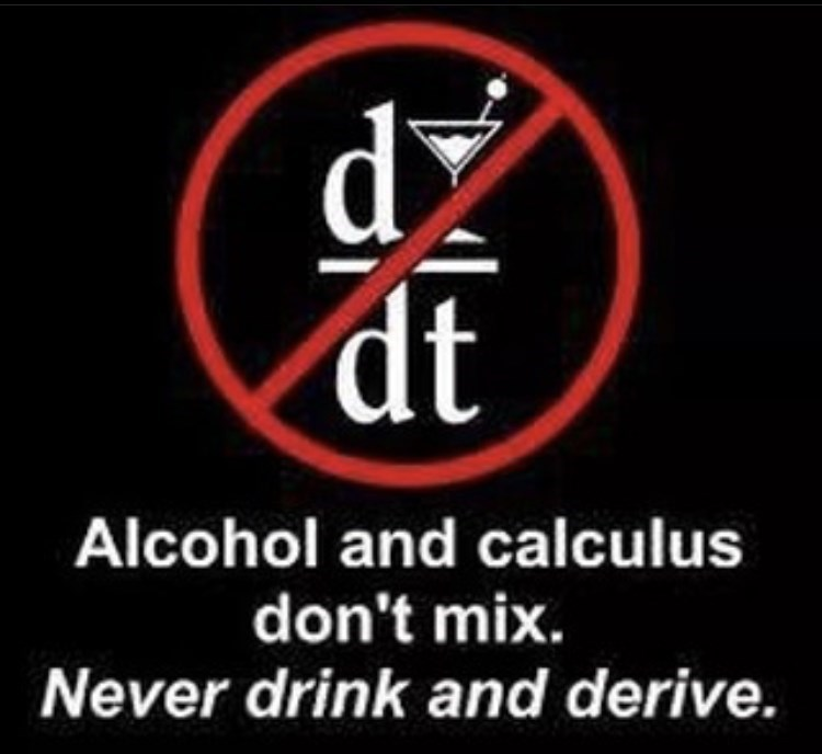 Font - dž dt Alcohol and calculus don't mix. Never drink and derive.