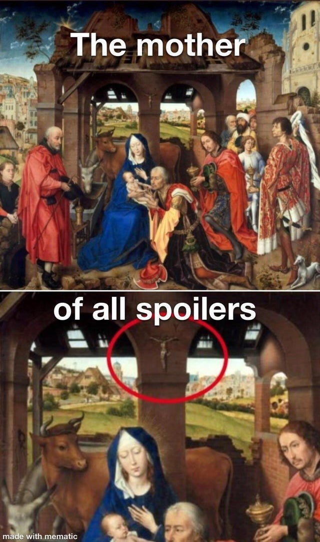 Funny meme about how there's a crucifix in a nativity painting scene