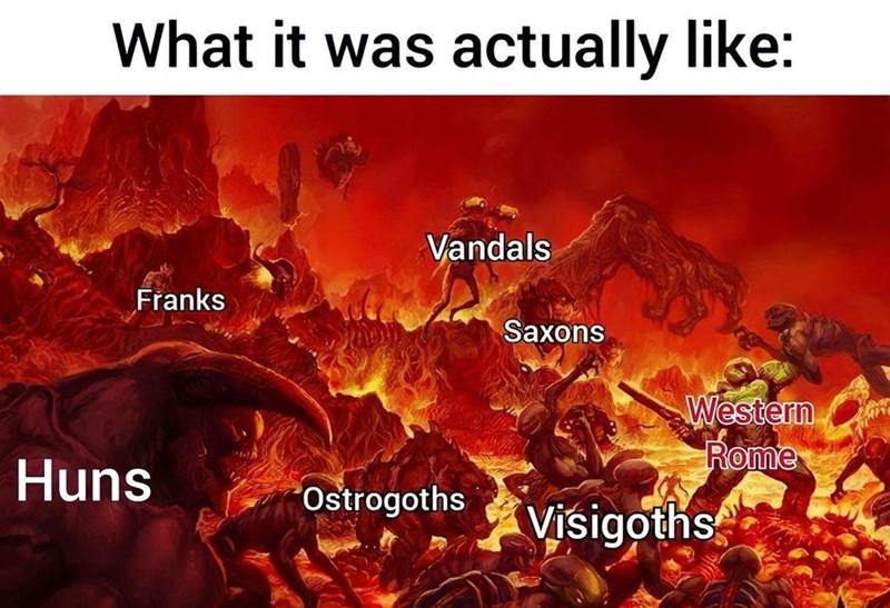 World - What it was actually like: Vandals Franks Saxons Western Rome Huns Ostrogoths Visigoths