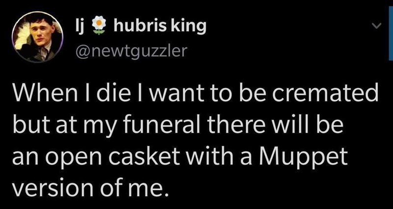 Organism - lj O hubris king @newtguzzler When I die I want to be cremated but at my funeral there will be an open casket with a Muppet version of me.