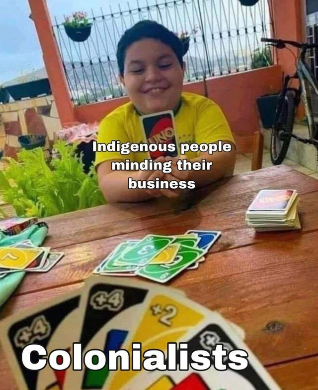 World - Face - Indigenous people minding their business Colonialists