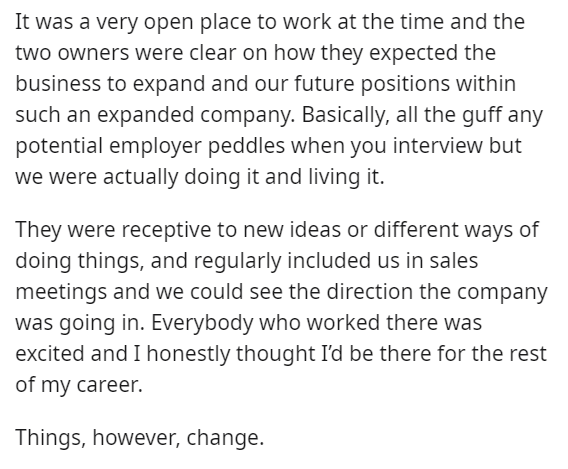 Font - It was a very open place to work at the time and the two owners were clear on how they expected the business to expand and our future positions within such an expanded company. Basically, all the guff any potential employer peddles when you interview but we were actually doing it and living it. They were receptive to new ideas or different ways of doing things, and regularly included us in sales meetings and we could see the direction the company was going in. Everybody who worked there w
