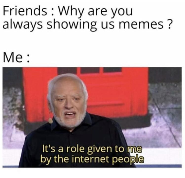 Facial expression - Friends : Why are you always showing us memes ? Me : It's a role given to me by the internet people