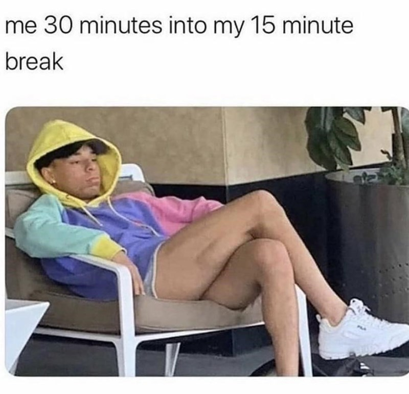 Leg - me 30 minutes into my 15 minute break