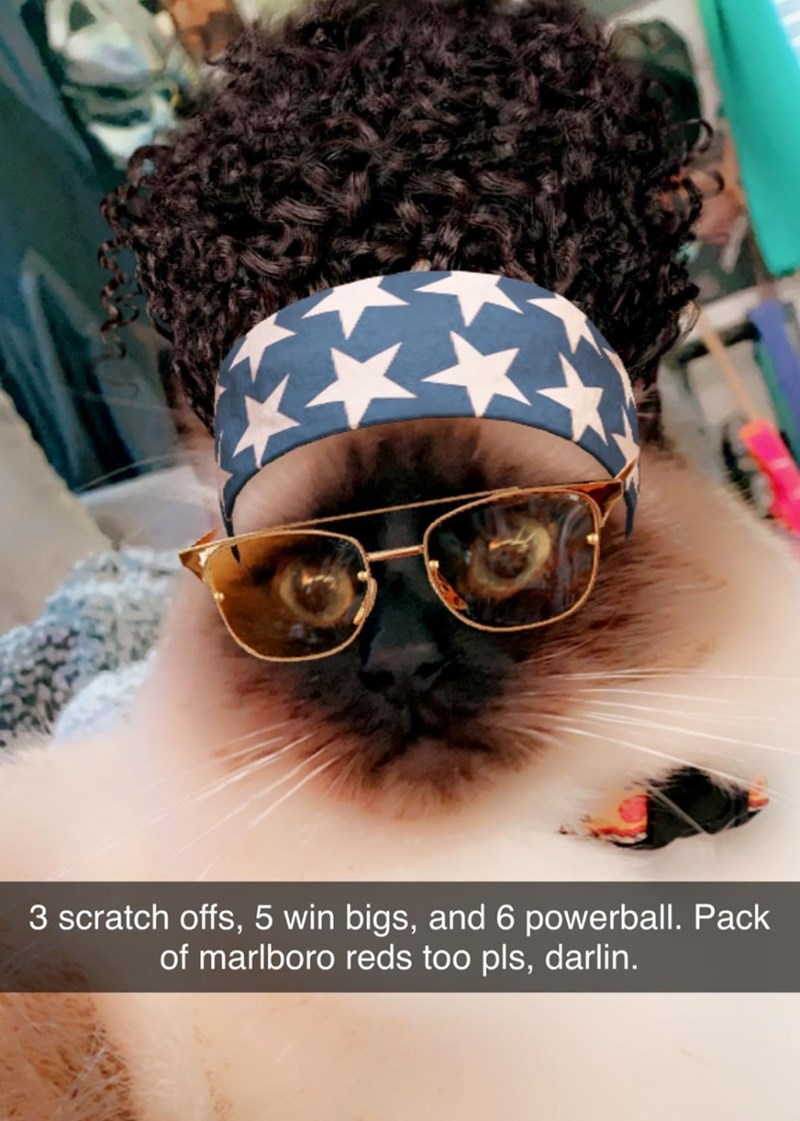 Glasses - 3 scratch offs, 5 win bigs, and 6 powerball. Pack of marlboro reds too pls, darlin.