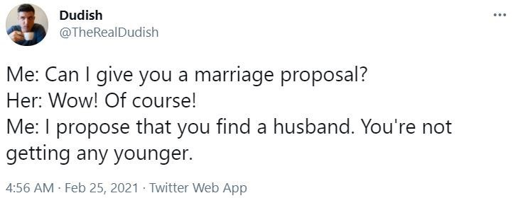 Font - Dudish ... @TheRealDudish Me: Can I give you a marriage proposal? Her: Wow! Of course! Me: I propose that you find a husband. You're not getting any younger. 4:56 AM - Feb 25, 2021 · Twitter Web App
