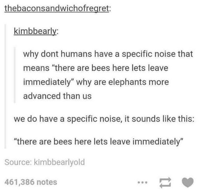 """Font - thebaconsandwichofregret: kimbbearly: why dont humans have a specific noise that means """"there are bees here lets leave immediately"""" why are elephants more advanced than us we do have a specific noise, it sounds like this: """"there are bees here lets leave immediately"""" Source: kimbbearlyold 461,386 notes"""