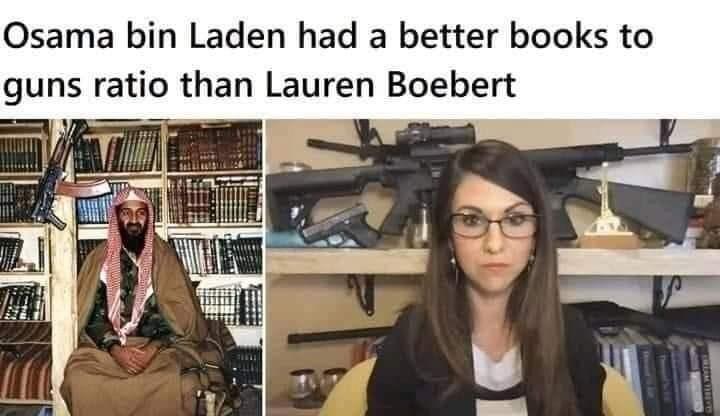 Photograph - Osama bin Laden had a better books to guns ratio than Lauren Boebert BENAR ve TreresetSs Hl