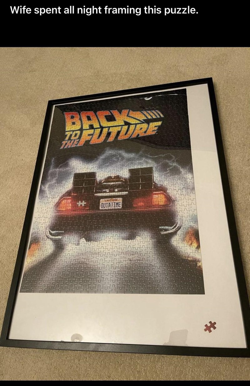 Car - Wife spent all night framing this puzzle. BACK FARFUTURE OUTATIME