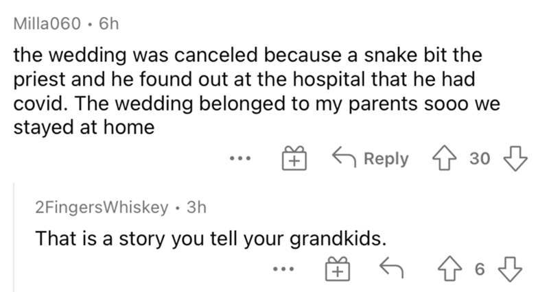 Font - Milla060 · 6h the wedding was canceled because a snake bit the priest and he found out at the hospital that he had covid. The wedding belonged to my parents so00 we stayed at home G Reply 30 ... 2FingersWhiskey · 3h That is a story you tell your grandkids. ...