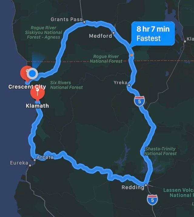 Map - Grants Pass Rogue River Siskiyou National Forest - Agness 8 hr 7 min Medford Fastest Kla Rogue River - National-Forest - Six Rivers Crescent Çity National Forest Yreka, Klamath Shasta-Trinity National Forest Arcata Eureka, Redding Lassen Volca National F