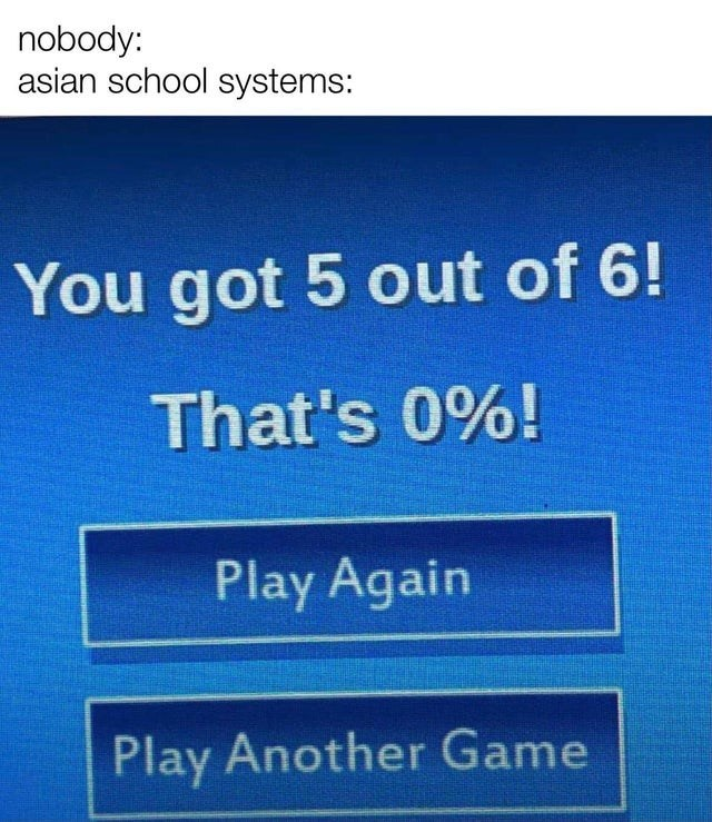 Font - nobody: asian school systems: You got 5 out of 6! That's 0%! Play Again Play Another Game