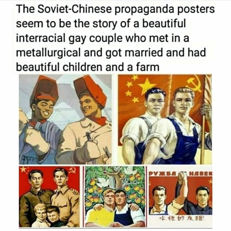 Facial expression - The Soviet-Chinese propaganda posters seem to be the story of a beautiful interracial gay couple who met in a metallurgical and got married and had beautiful children and a farm 水校的友誼