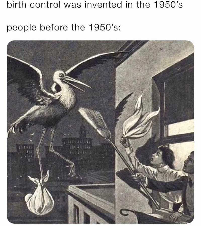 Bird - birth control was invented in the 1950's people before the 1950's: