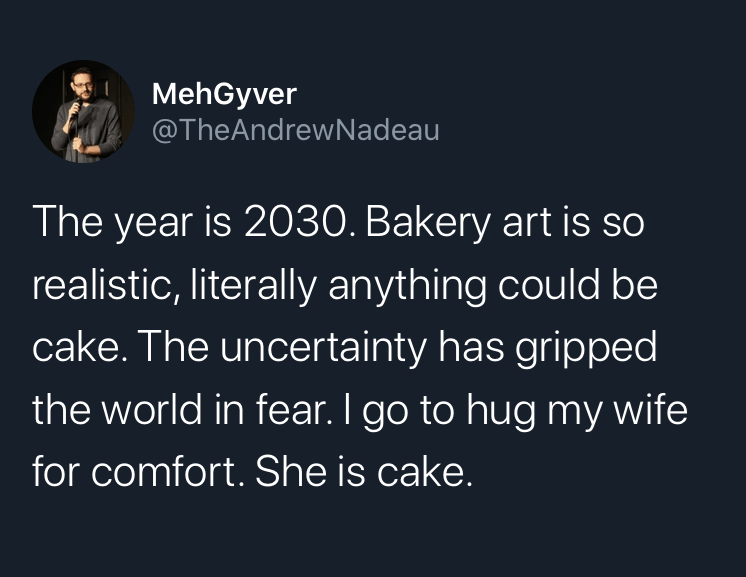 Font - MehGyver @TheAndrewNadeau The year is 2030. Bakery art is so realistic, literally anything could be cake. The uncertainty has gripped the world in fear. I go to hug my wife for comfort. She is cake.