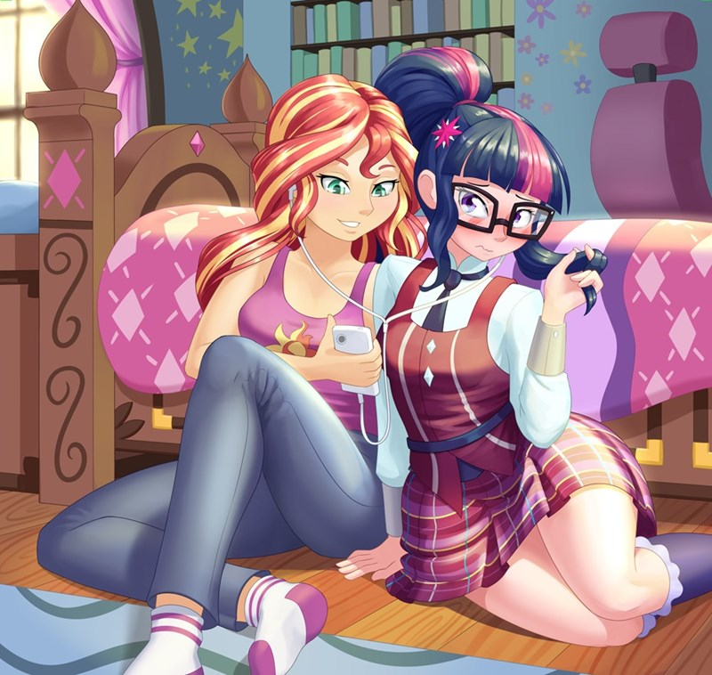 equestria girls humanized shipping twilight sparkle sunset shimmer scitwi dstears - 9595313664