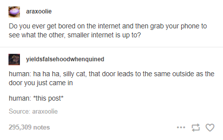 Font - araxoolie Do you ever get bored on the internet and then grab your phone to see what the other, smaller internet is up to? yieldsfalsehoodwhenquined human: ha ha ha, silly cat, that door leads to the same outside as the door you just came in human: *this post* Source: araxoolie 295,309 notes