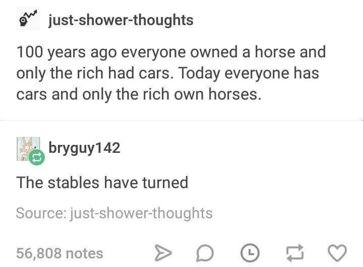 Font - just-shower-thoughts 100 years ago everyone owned a horse and only the rich had cars. Today everyone has cars and only the rich own horses. bryguy142 The stables have turned Source: just-shower-thoughts 56,808 notes L A